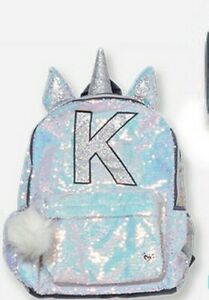 """New Justice Girl's Sequin Unicorn Backpack  Initial """"K"""""""