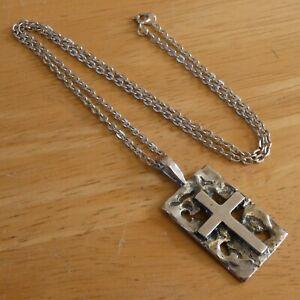Vintage 1970's Israel Sterling Silver Brutalist Cross Pendant By Rachel Gera