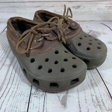 Crocs Unisex Brown Leather Lace Up Boat Shoe Womans Sz 8 Mens Sz 6