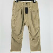Women's R13 Olive Green Hemp Cargo Harem Pants Size 24 NEW $450