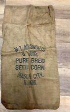 Feed Sack Bag Burlap W. T. Ainsworth Pure Bred Seed Corn Mason City Illinois