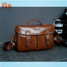 NEW Synthetic leather (PU) DSLR Camera Shoulder Bag Brown Size S for Canon 5D 6D