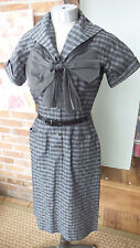 Vtg DRESS Black & White plaid Large Bow Belted w/ Buttoned front Kane Weill Rare