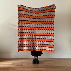 Vintage Southwestern Boho Orange Throw Blanket Bedspread Joshua Tree Large