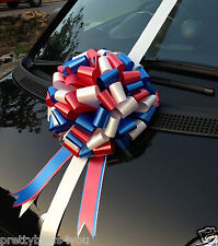 Giant Car Bow Extra Large Birthday Present Bow 30cm ROYAL BLUE+RED+WHITE Bow