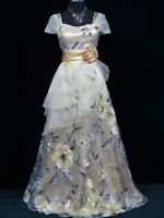 Cherlone Ivory Long Ballgown Wedding Evening Bridesmaid Formal Dress UK 12