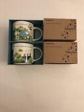 LOT OF 2: Disney Magic Kingdom +  Hollywood Studios V3 YAH 14 Oz. Starbucks Mugs