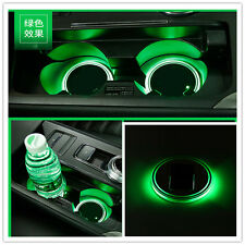 2pc Green LED Light Trim Solar Cup Holder Bottom Pad Mat  For All Car All models