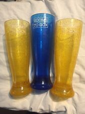 ROOMS TO GO ACRYLIC TUMBLERS BEER GLASS 1 BLUE & 2 YELLOW EX++  FREE S&H