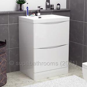 600mm Bathroom Vanity Basin Unit Storage 2 Drawer White Gloss Cabinet Furniture