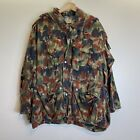 Vintage Swiss Army Camouflage Full Zip Hooded Green Military Jacket Sz L