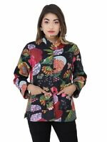 Tropicana Floral Print Cotton Quilted Handmade Reversible Jacket Women's coat