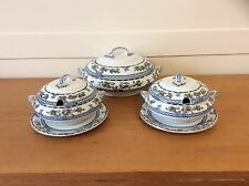 VINTAGE LOSOL WARE BEVERLEY PATTERN 1 LARGE and 2 SMALL LIDDED TUREENS