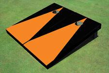 Orange And Black Matching Triangle No Stripe Custom Cornhole Board
