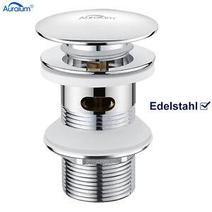 Edelstahl Waschbecken Ablaufgarnitur POP UP Ablaufventil mit überlauf Waschtisch