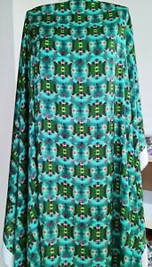 Lightweight digitally printed satin dress fabric green, 4 mtrs
