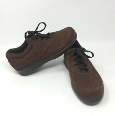 SAS Free Time Women's Brown Nubuck Lace Up Oxfords Walking Shoes - 6.5W Wide