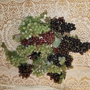 Vintage soft plastic grapes 17 bunches white green red purple Regency Hong Kong