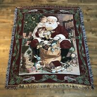 "American Weavers Tapestry Santa Claus Christmas Throw Blanket 60"" x  50"" Fringe"