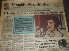 Vintage NEWSPAPER MEMPHIS Press-Scimitar Aug.17,1977/ELVIS' MOURNERS IN WAITING