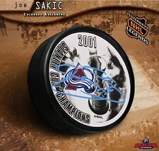 Joe Sakic Signed 2001 Stanley Cup Champions Puck - Colorado Avalanche