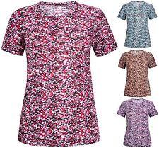 Womens Plus Size Floral Flower Print Ladies Short Sleeve Long Tunic T-Shirt Top