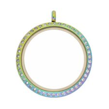 35mm Twist Multicolor Stainless Steel Floating Locket with Crystals 35M-CR-TW