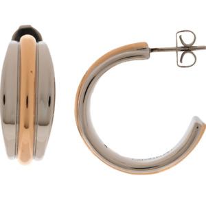 CALVIN KLEIN SILVER ROSE GOLD HOOP SLINKY EARRINGS KJCZPE200100 RRP £75