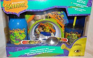 Shrek 6 Piece Mealtime Dinnerware Set,Plate,Bowl,Fork&Spoon,Sports Sip Bottle