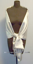 Shiny Silver Satin Wrap Bridal Shawl Prom Cover up Stole