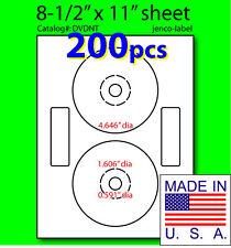DVDNT, 200 CD/DVD Labels, Matte White Laser InkJet