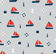 Nautical Minky Fabric by the yard Red White Blue