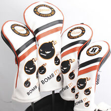 NEW WHITE BOMB IT! PREMIUM PU LEATHER HEAD COVER SET 4 COVERS D,3,5 & HYBRID