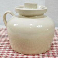 Vintage R.R.P. Co. ROSEVILLE Cream Stoneware Crock Bean Pot w/ Handle + Lid EXC!