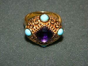 FP 14k Yellow Gold Filigree Persian Turquoise AND AMETHYSTl Ring Size 8