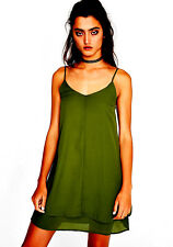 7845a3698d40f NEW NWT $80 DOLLS KILL OLIVE GREEN LAYERED SLIP DRESS 90'S VINTAGE STYLE  SIZE M