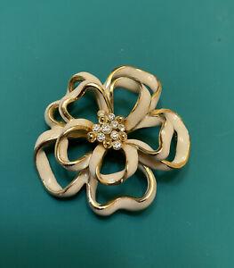 VINTAGE JEWELRY BROOCH PIN RHINESTONES ENAMEL FLOWER GOLD TONE METAL