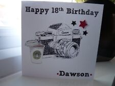 Handmade Personalised Photography Camera Birthday Card Male Boys 18th 21st 30th