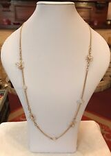 "Gold Tone 36"" Long Butterfly & Flower Statement Necklace BNWOT (A426)"