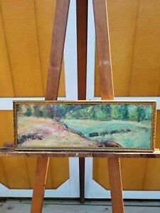 Antique Signed J Plutzer Scenic Panoramic Log River Landscape Oil? Painting OLD