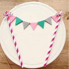 Happy Birthday Cake Cupcake Bunting Banner Flag Food Topper babyShower Party VJ