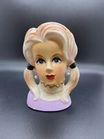 VINTAGE RUBENS 1960's TEEN HEAD VASE 4129 MADE IN JAPAN BLONDE PIGTAILS 5-1/2""