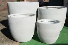 Outdoor Garden Patio Entrance Planter Round Winston Egg Pot Pattern White