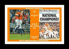 VIRGINIA CAVALIERS WINS 2015 BASEBALL CWS MATTED PIC OF NEWSPAPER & CELEBRATION