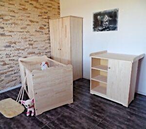 Babyzimmer Komplett Set Babybett Gitterbett Wickelkommode Schrank MASSIVHOLZ SET