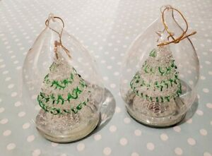 2x Hand-Blown Glass Multi Coloured Light Up Christmas Tree Decoration/Bauble