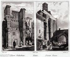 Roro:Foro di Nerva,Foro Palladio.Audot.Acciaio.Stampa Antica + Passepartout.1836