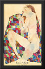 Woman Laying Nude 28x40 Extra Large Black Wood Framed Art Print by Egon Schiele