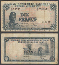 Belgian Congo 10 Francs 1957 (F-VF) Condition Banknote P-30b