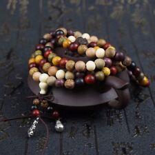 Natural Mixed Wooden 108 Bracelet  Beads 6mm Tibetan Buddhist Prayer Rosary Mala